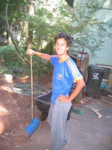 Jorge (Colombia) doing yard work in 2006
