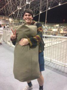 Jan with duffel