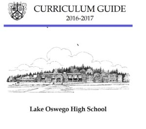 high school curriculum guide cover page