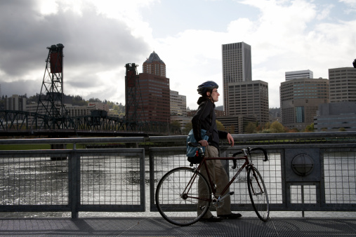 USA, Oregon,Portland, man with bicycle