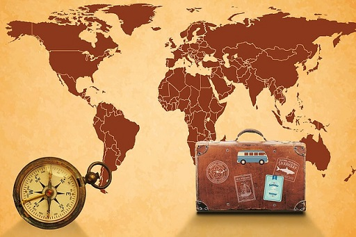 map of world with suitcase