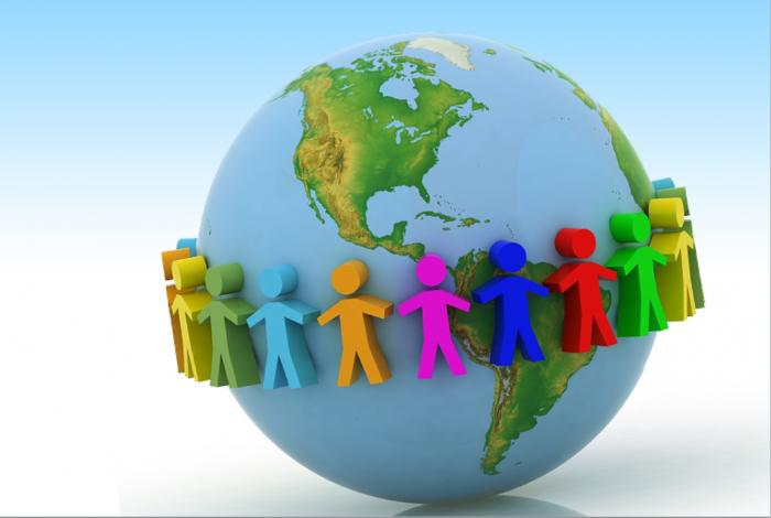 globe with figures holding hands around globe