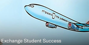 stylized airplane with words exchange student success