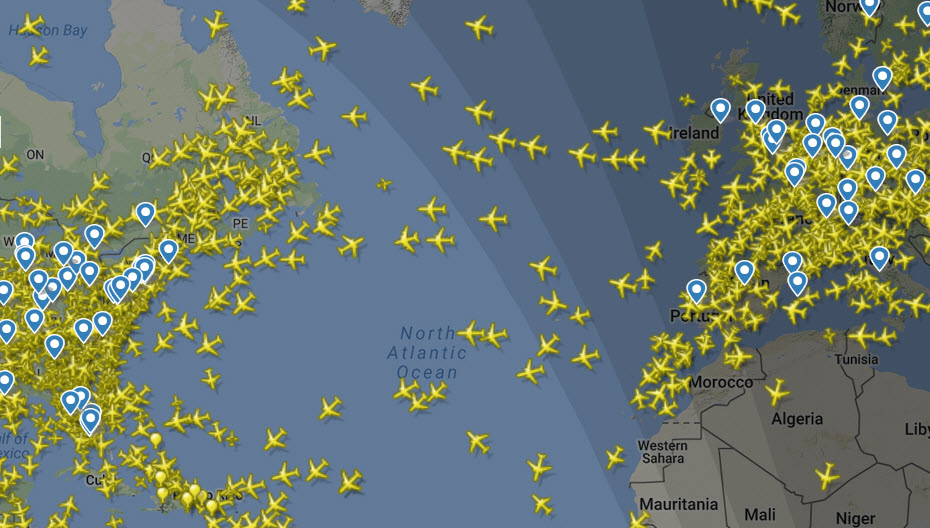real time planes in sky Atlantic