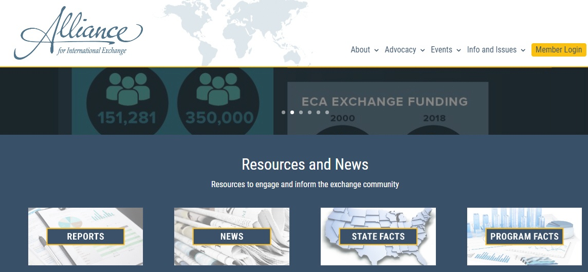 Alliance for International Exchange website