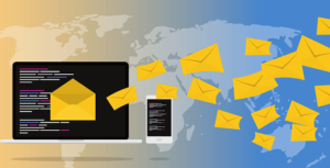 message envelopes flying out from computer