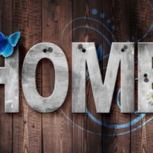 word home on wall with butterfly