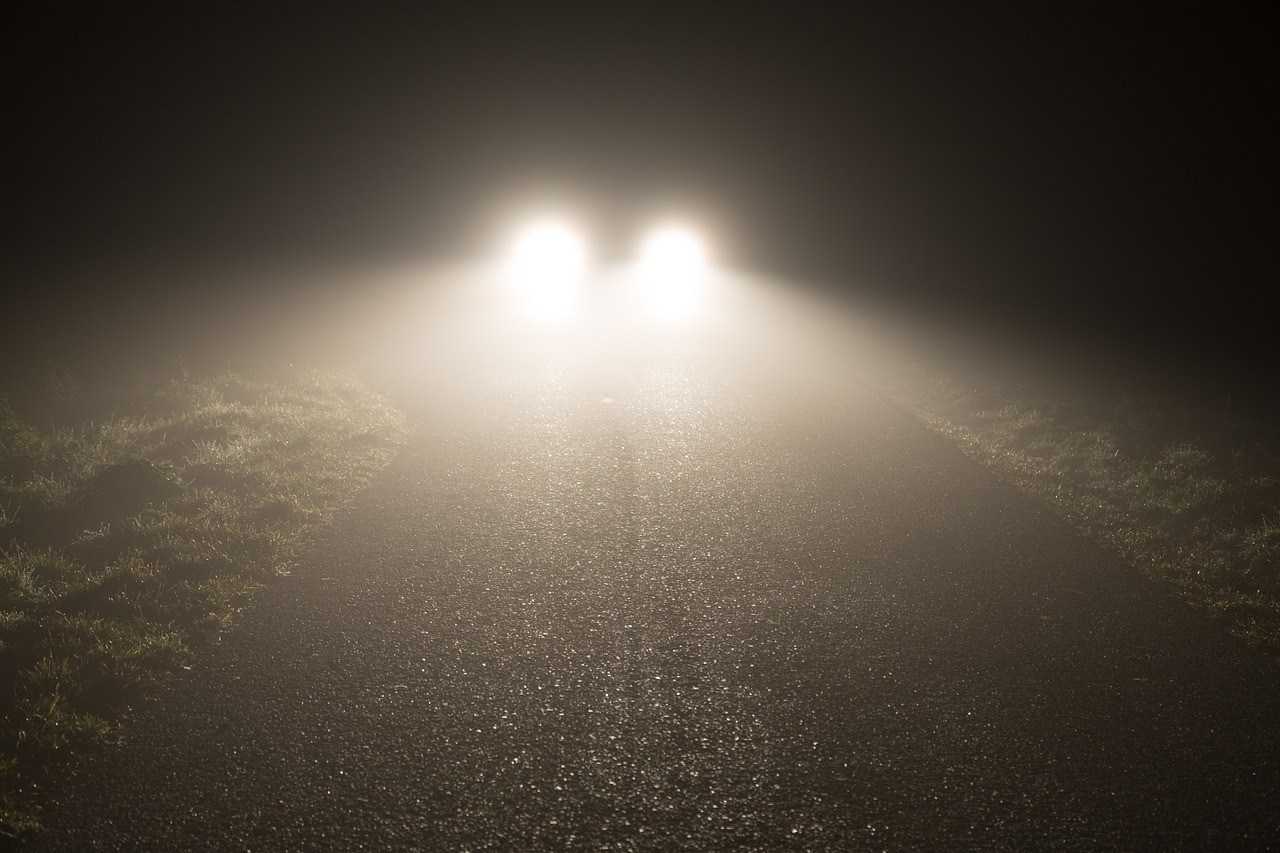foggy weather headlights in distance
