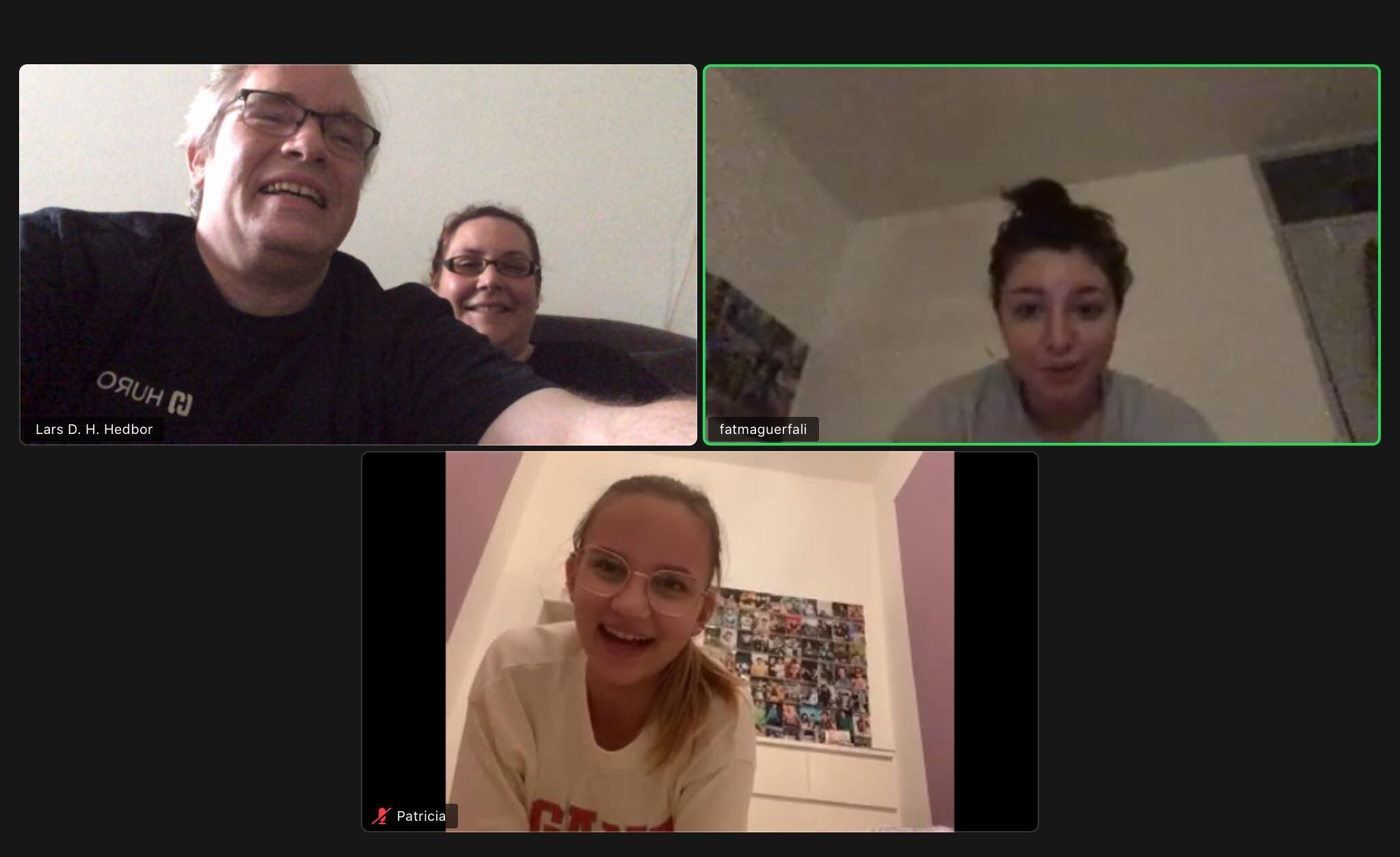 zoom call with host parents and two exchange students